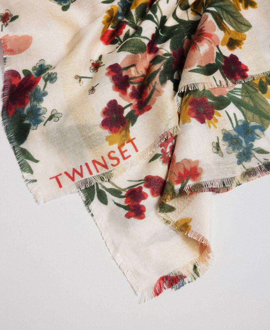 Lurex band scarf with floral print Ecru Meadow Print Woman 192TA4422-02