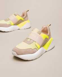 Running shoes with logo Two-tone Optical White / Fluo Yellow Woman 201TCP152-01