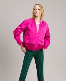 """Technical fabric bomber jacket with feathers """"Electric Pink"""" Fuchsia Woman 191TP2011-01"""