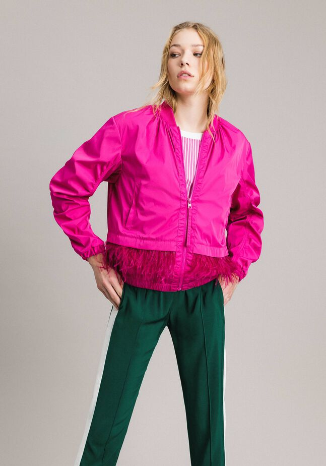 Technical fabric bomber jacket with feathers