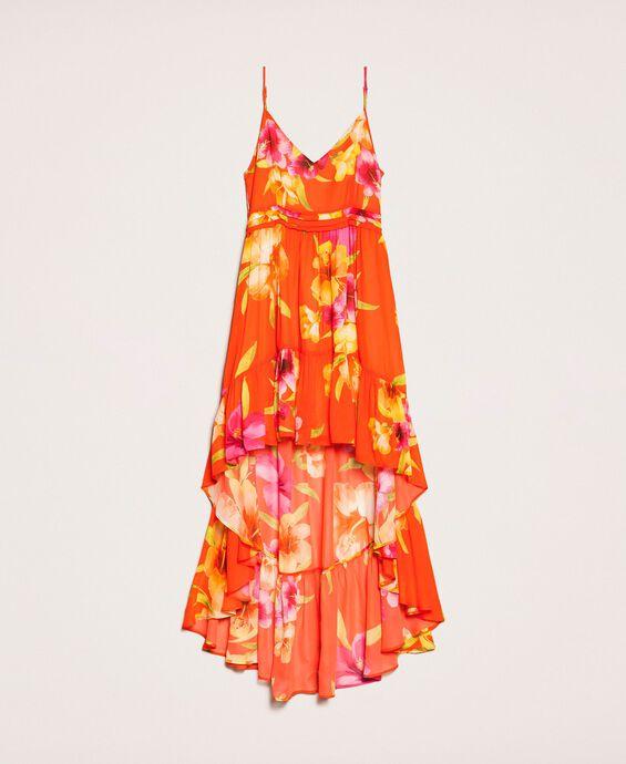 Асимметричное платье из жоржета с цветочным рисунком