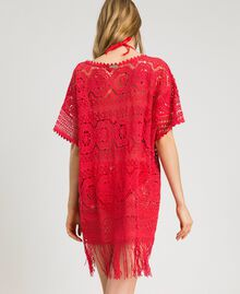 "Crochet poncho with fringes ""Framboise"" Red Woman 191LM3NGG-03"