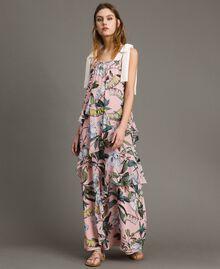"""Georgette-Maxikleid mit Blumenmuster Motiv Exotisch """"Soft Pink"""" Frau 191ST2223-01"""