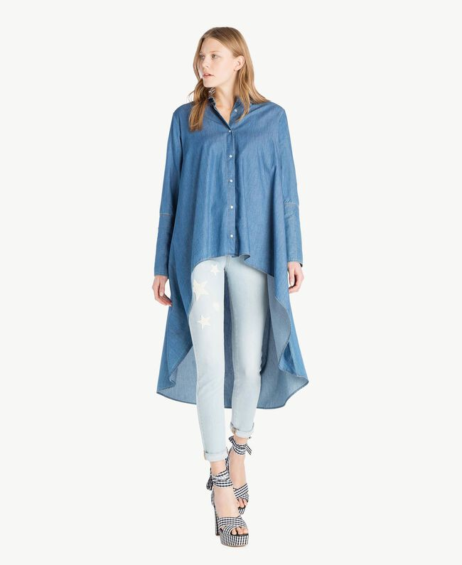 Maxi camicia denim Denim Blue Donna JS82U2-01