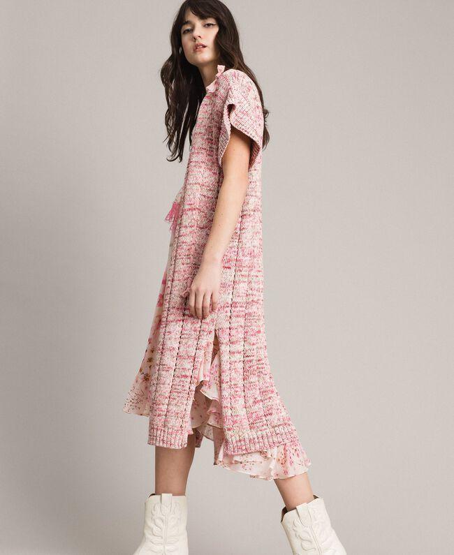 Lange Weste mit Bändern Multicolour Pinkes Muster Frau 191TP3282-03