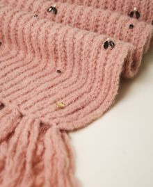 """Knit scarf with pearls and bezels """"Intense Nude"""" Pink Woman 202TO5111-03"""