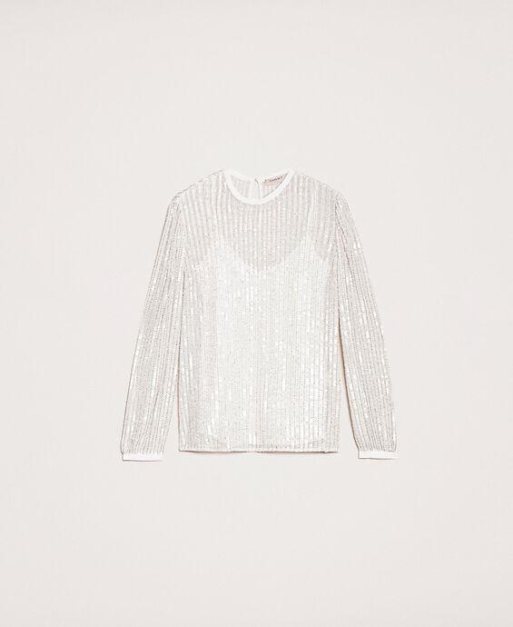 Блуза из тюля, полностью расшитая пайетками