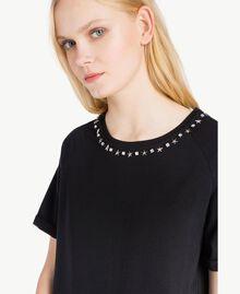 Maxi-T-Shirt mit Spitze Schwarz Frau JS82RT-04