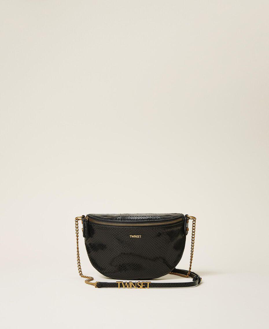 Animal print leather shoulder bag Black Python Print Woman 202TD8021-02