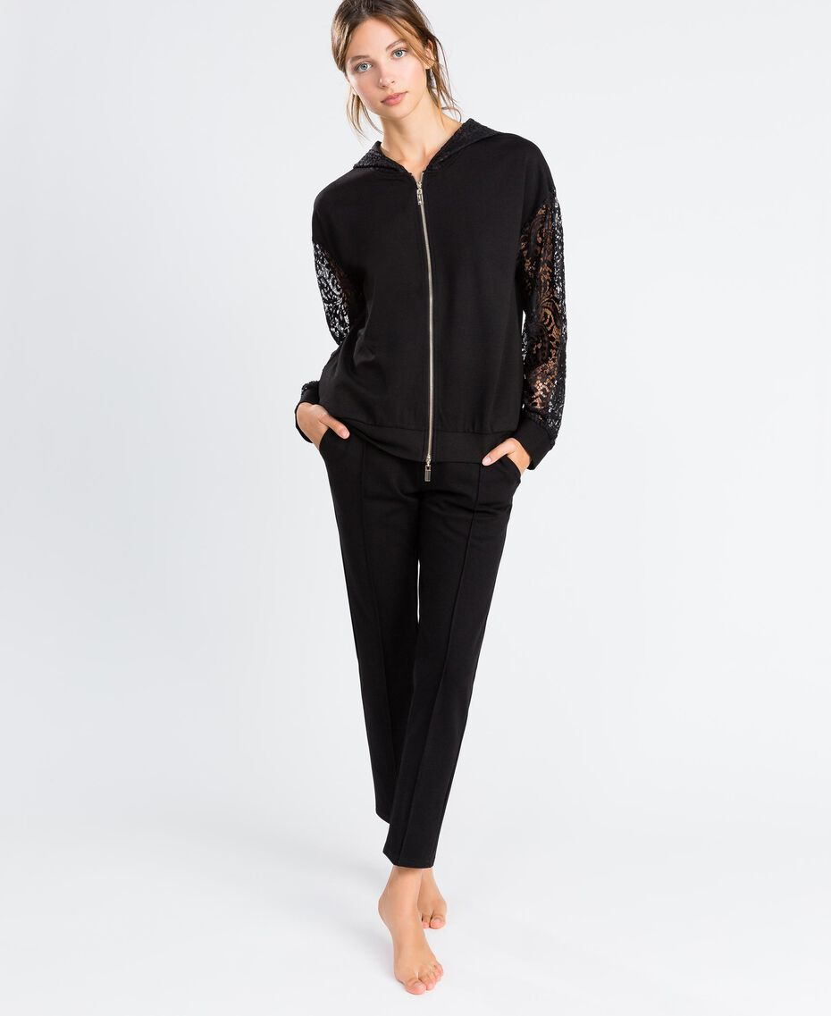Zip-up viscose sweatshirt with lace Black Woman IA8CEE-0S