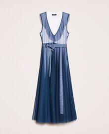 """Full-length tulle gown with ruffle """"Hyacinth"""" Blue Woman 201MT2390-0S"""