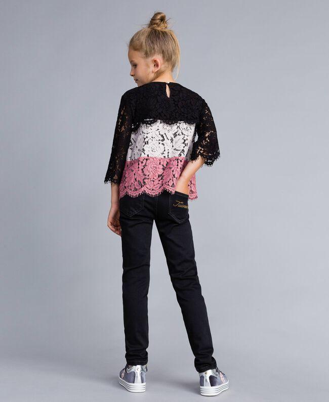 Jeans in denim nero con strappi Denim Grigio Scuro Bambina GA82UC-03