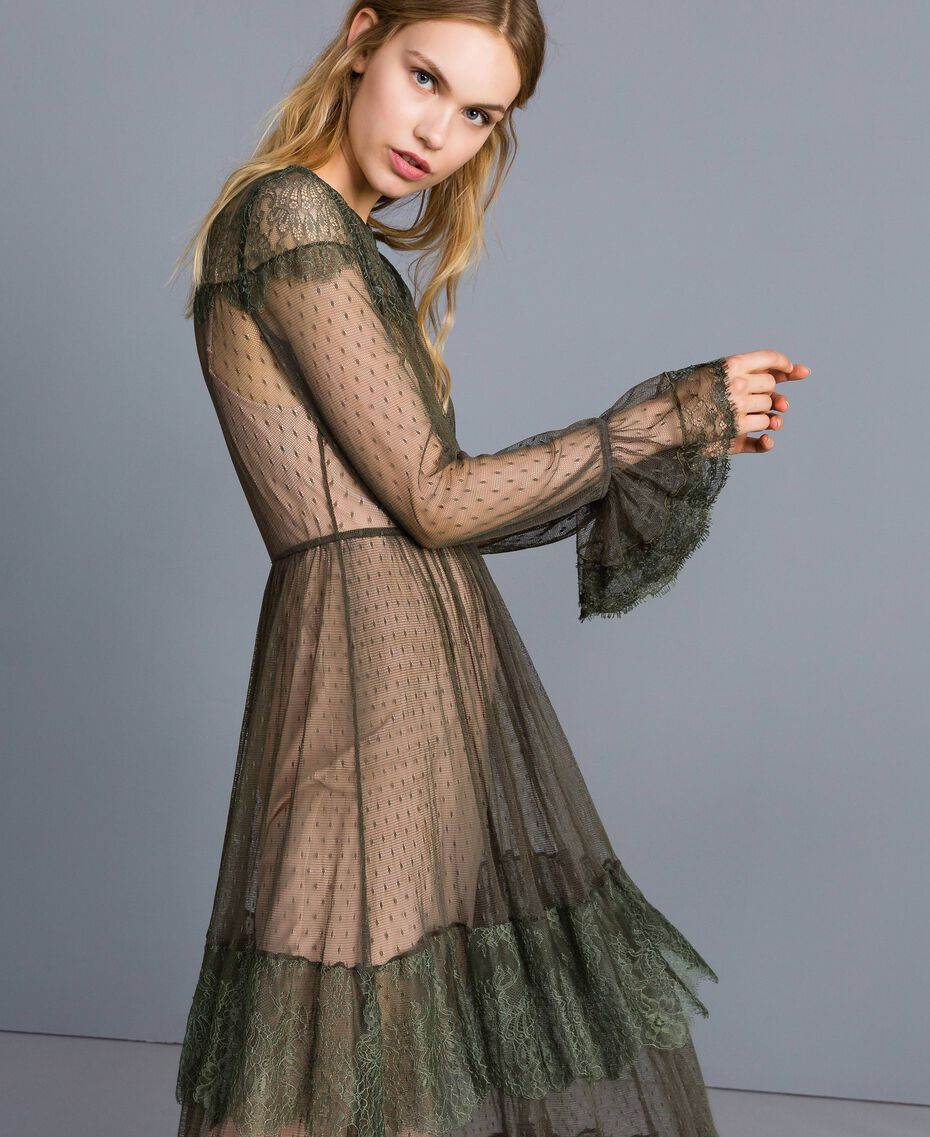 Tulle plumetis and lace long dress Forest Green Woman TA82XA-02