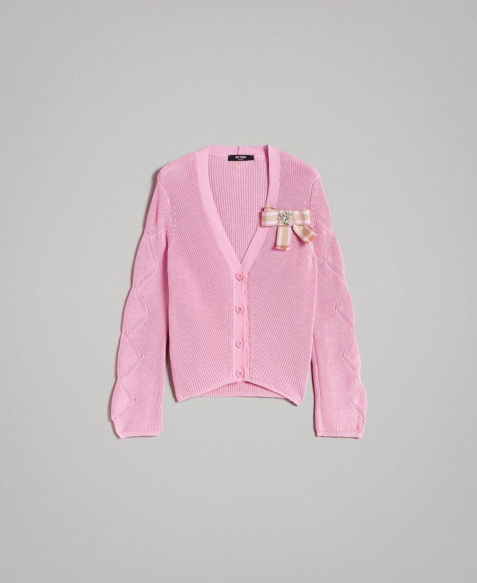 Cardigan en coton orné d'une broche Rose Hortensia Femme 191MP3092-0S