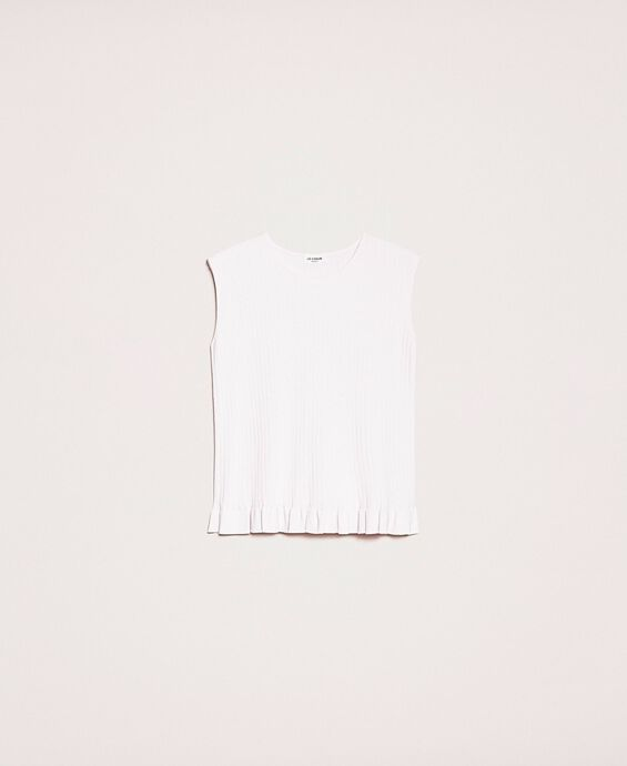 Ribbed top with ruffle