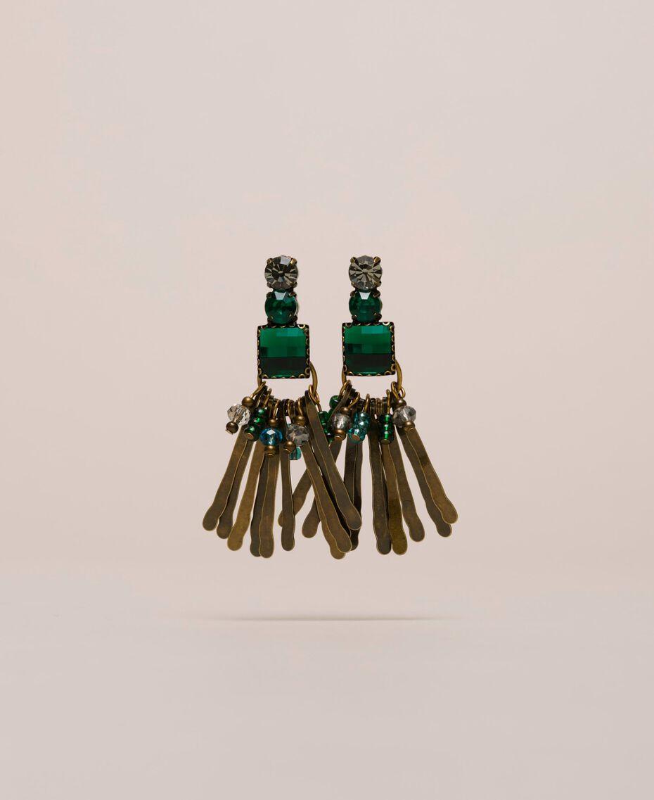 Boucles d'oreilles pendantes avec cabochons et perles Or «Laiton Vieilli Cuivré» Femme 201TO530E-01