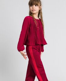 Pleated crêpe and lace blouse Ruby Wine Red Child 192GJ2520-02