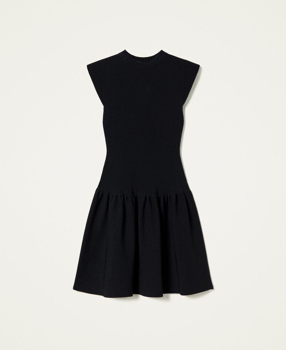 Robe côtelée avec jupe plissée Noir Femme 212AP3280-0S