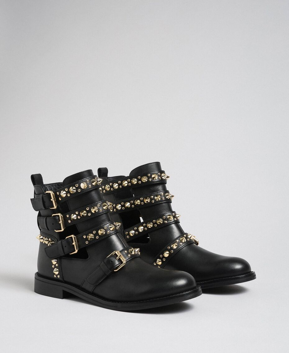 Leather biker boots with straps and studs Black Woman 192TCP01U-02