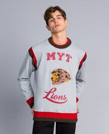 Sweat en coton avec imprimé et broderie Multicolore Gris Chiné / Rouge Coquelicot / Vert Alpin Homme UA82DC-01