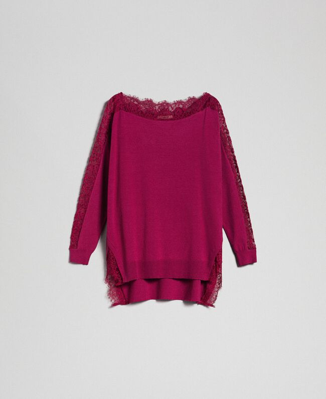 Maxi jumper with lace inlays Beet Red Woman 192TP3160-0S