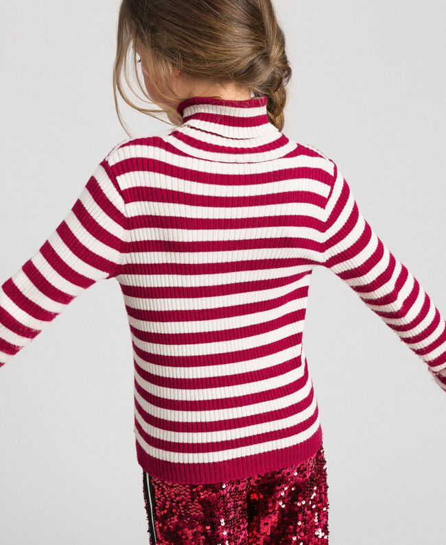 Ribbed mock turtleneck with stripes Ruby Wine Striped Jacquard / Oat Child 192GJ3170-04