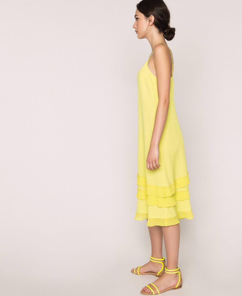 "Pleated crêpe de Chine slip dress ""Light Lemon"" Yellow Woman 201ST2015-02"