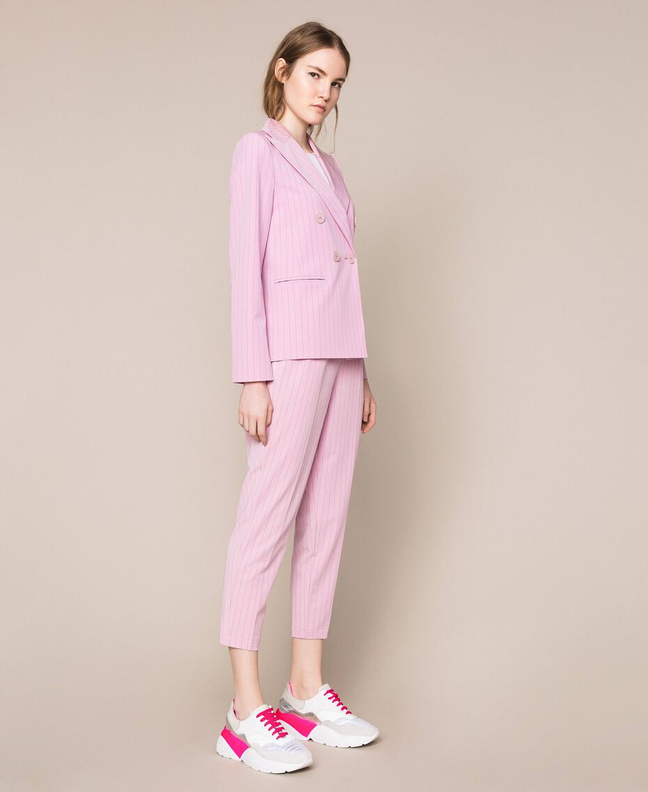 "Double breasted pin stripe blazer ""Candy"" Pink Pin Stripe Jacquard Woman 201ST2080-02"