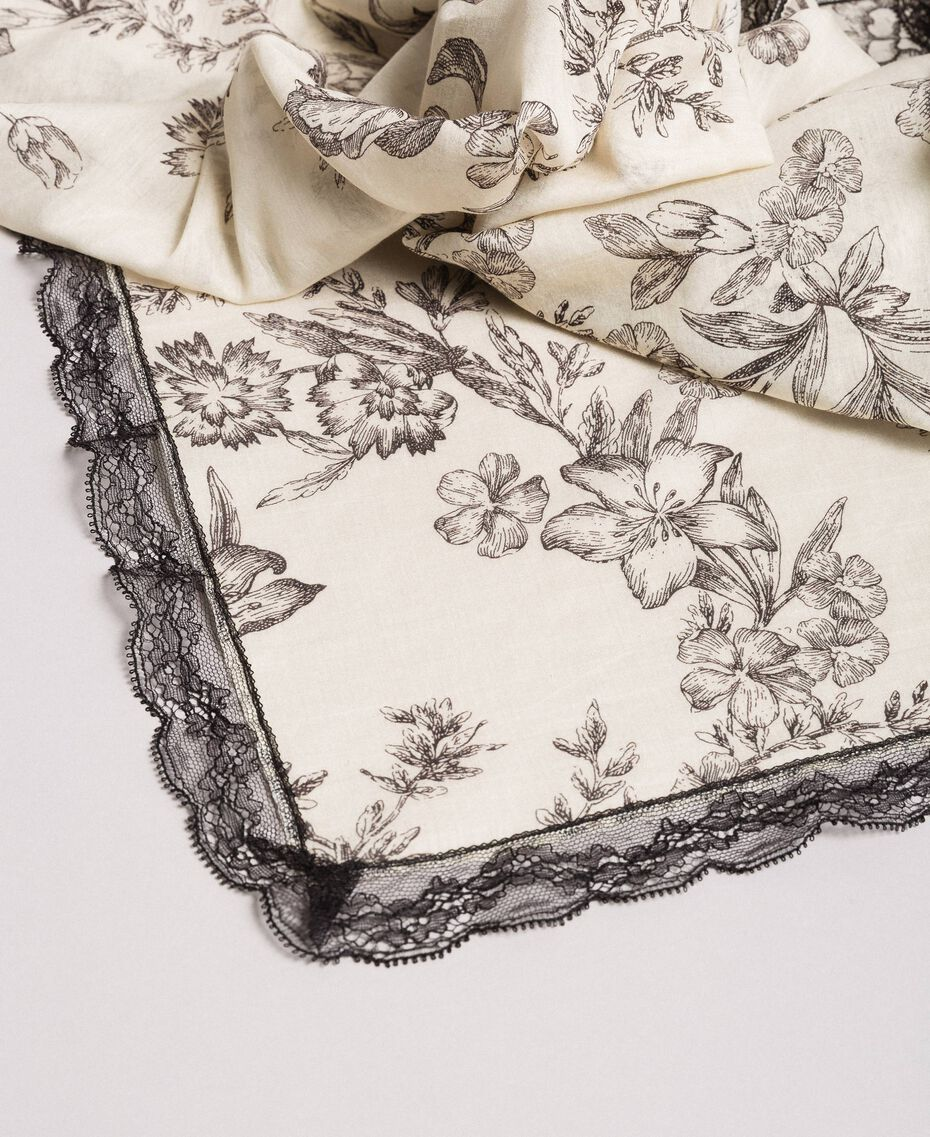 Bedruckte Baumwoll- und Seide-Kufiya Motiv Toile De Jouy Schwarz Frau 191TO530F-02