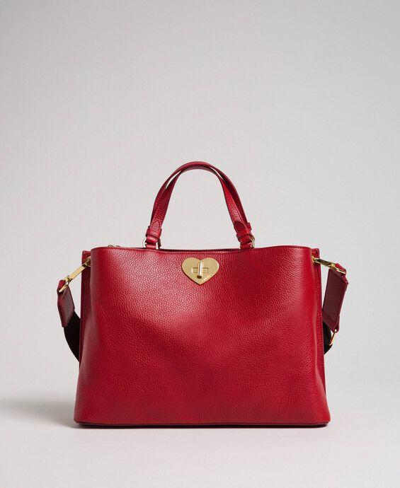 Маленькая кожаная сумка-шоппер с ремнем через плечо