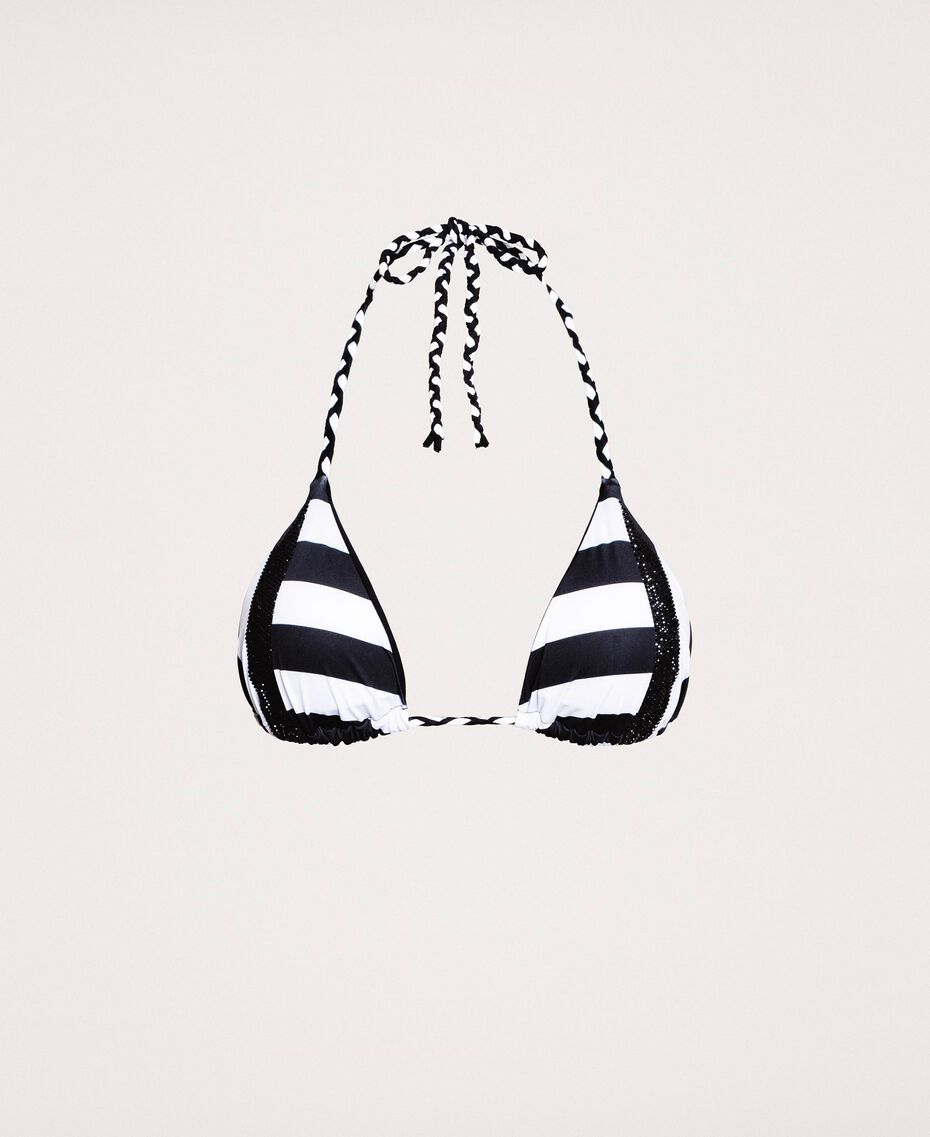 Triangle bikini top with rhinestone bands Two-tone Black / Optical White Woman 201LMMF22-0S