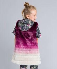 """Ombre faux fur gilet """"Grape"""" Purple / """"Bougainvillea"""" Pink Gradient Print Child GA82ZA-03"""