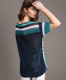 Maxi pull en crochet avec lurex Multicolore Crochet Bleu Nuit Femme 191MT3050-03