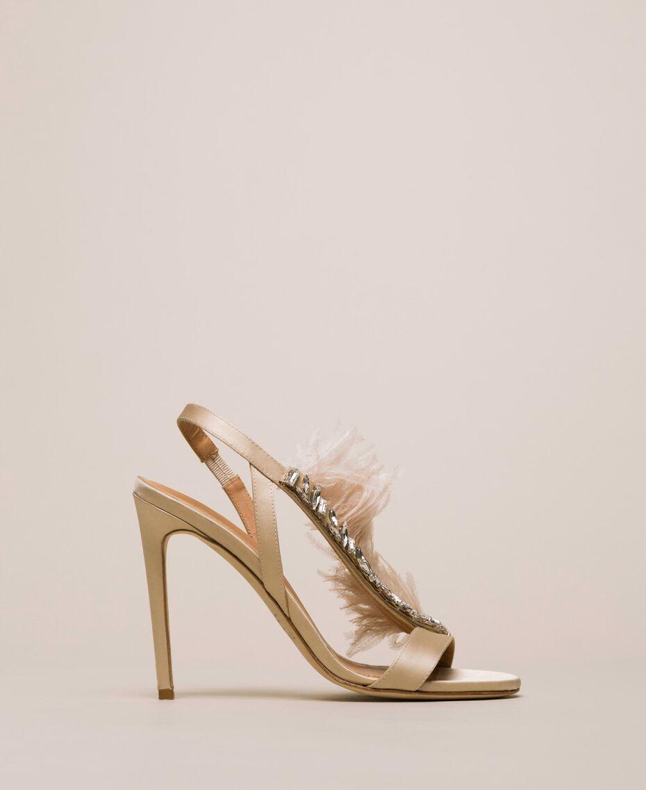 "Sandali in raso con piume Rosa ""Jazz"" Donna 999TCP032-02"