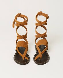 "Sandales plates en cuir Beige ""Cigare"" Femme 211TCT060-04"