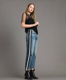 Loose jeans with striped panels Denim Blue Woman 191MP2482-03