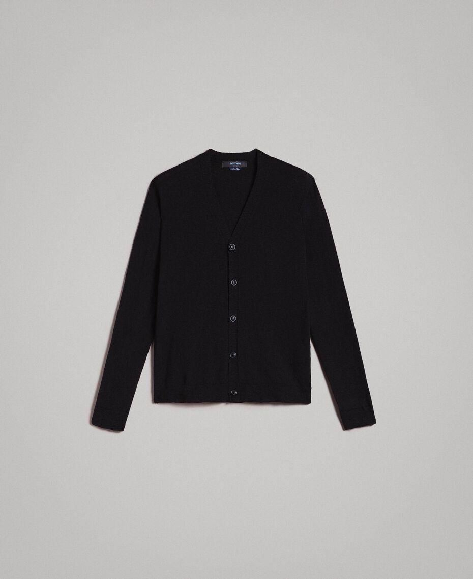 Cardigan aus Slub-Baumwollmischung Schwarz Mann 191UT3070-0S
