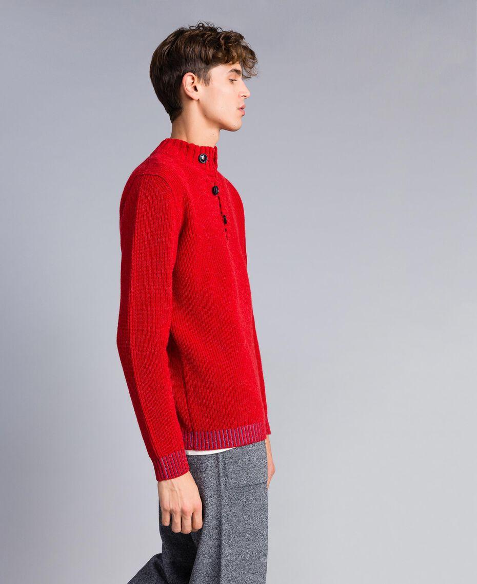 Pull en laine et alpaga Rouge Coquelicot Homme UA83DC-02