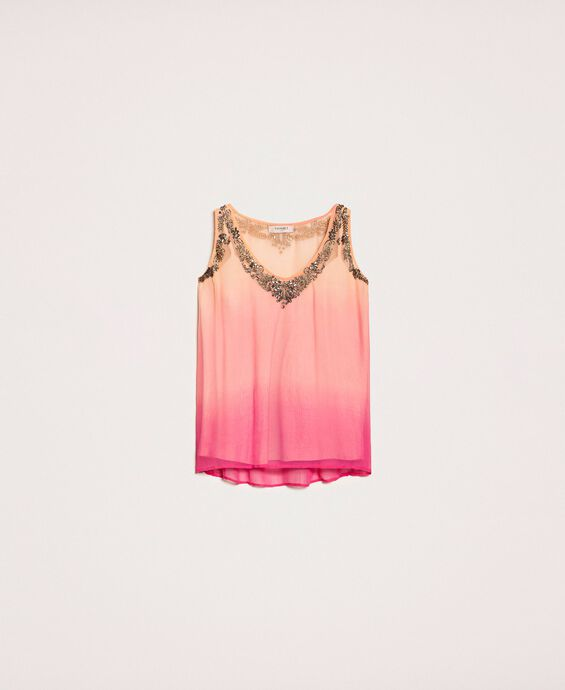 Tie-dye creponne top with embroidery