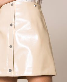 Glossy faux leather mini skirt Vanilla White Woman 201MP2240-04