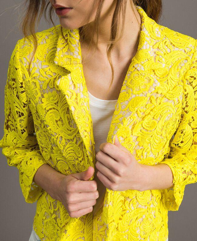 Blazer Jacke mit Makramee-Spitze Neongelb Frau 191MT2150-01