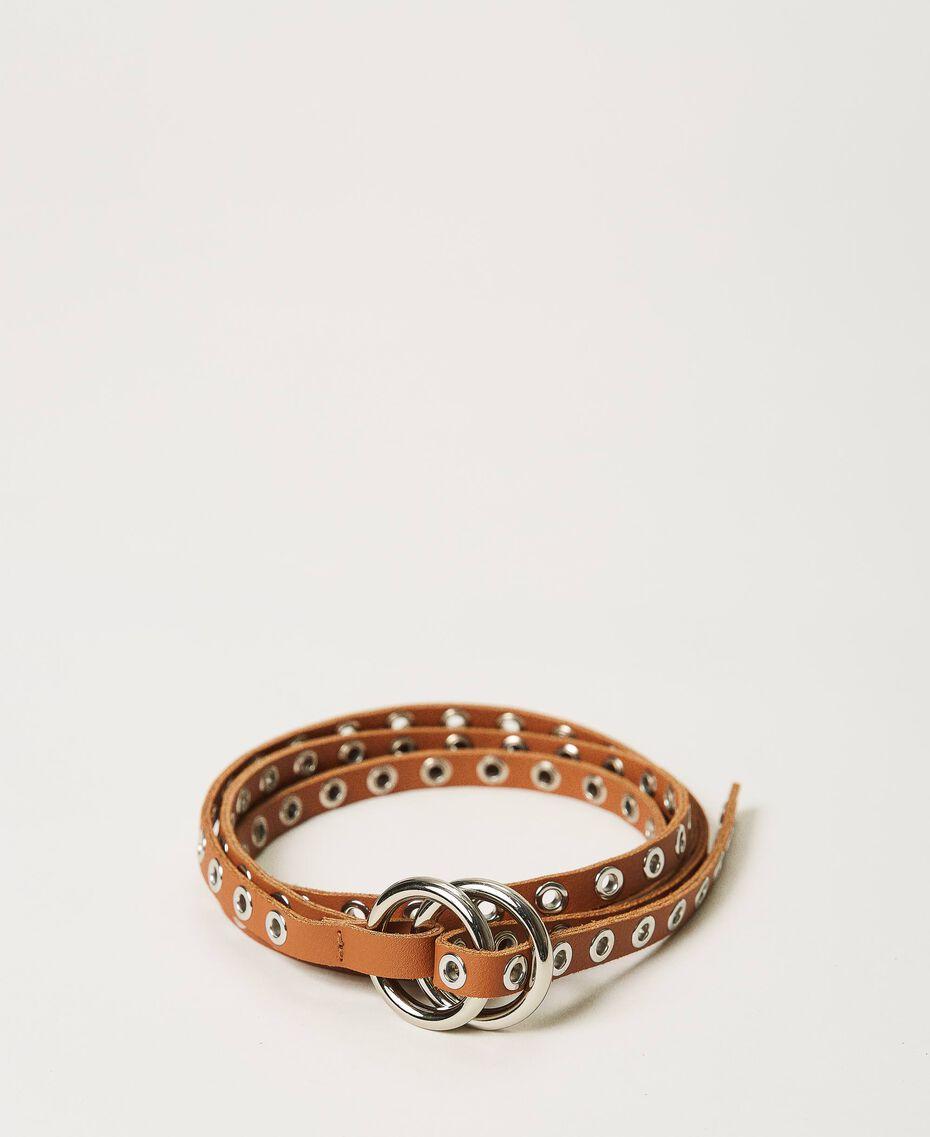 Cinturón de piel con velas Cuero Mujer 211TO5068-01
