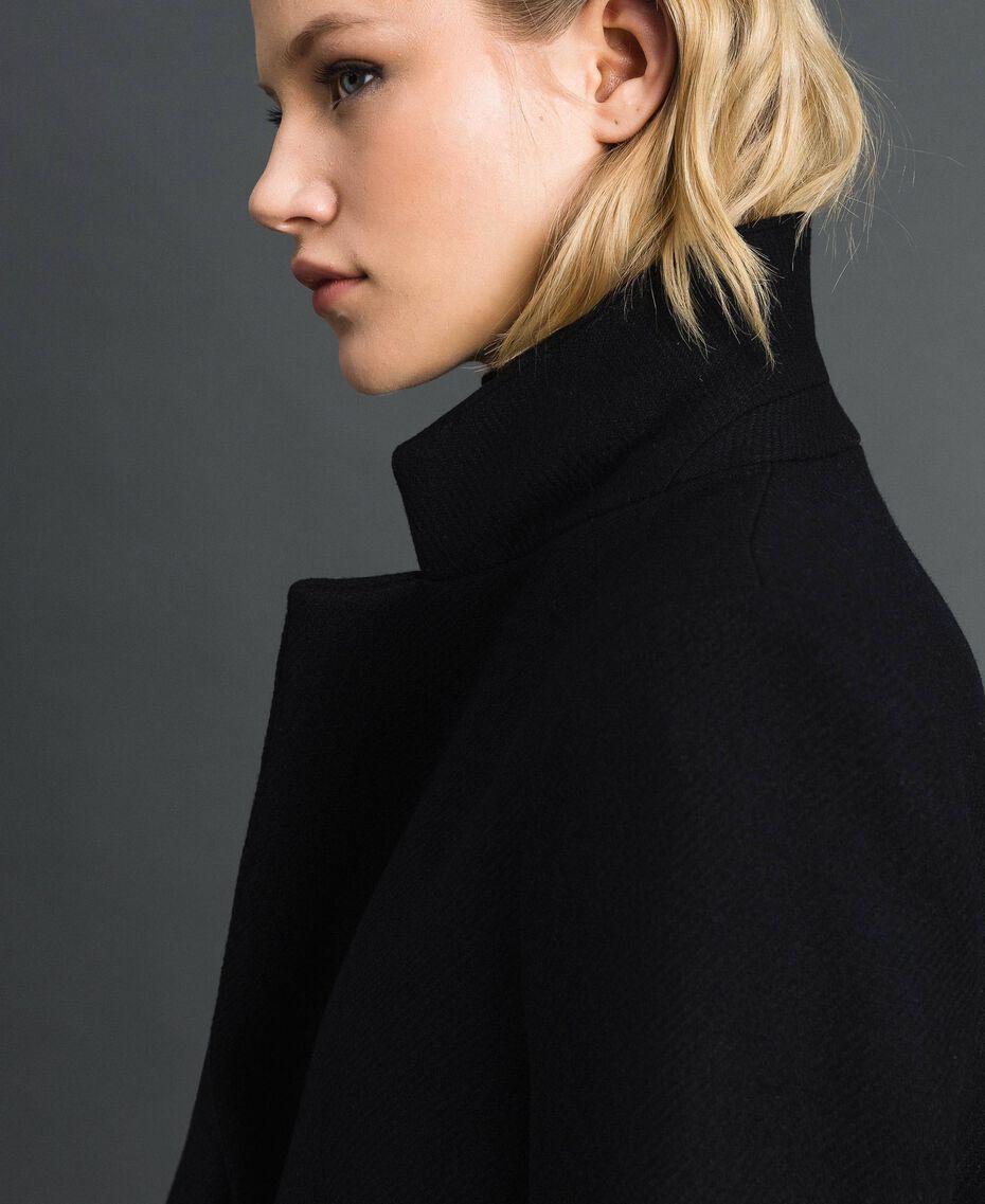 Langer Mantel aus Tuch Schwarz Frau 192TP2313-05
