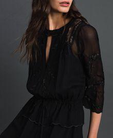 Длинное платье из жоржета с вышивками Черный женщина 192TP2340-04