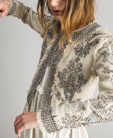 """Veste en lin ornée de perles et de sequins Beige """"Sable"""" Femme 191TT2060-04"""