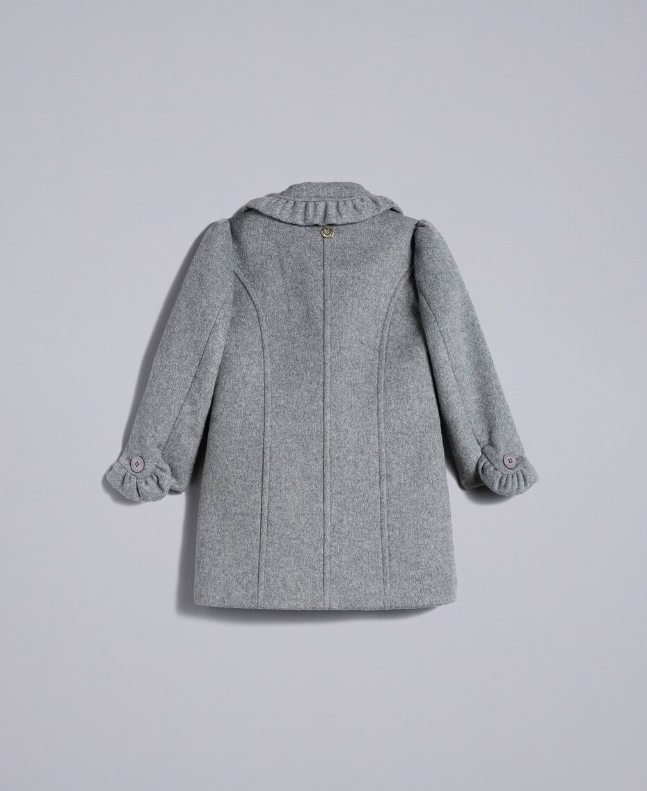 Mantel aus Tuch mit Rüschen Durchschnittgrau-Mélange Kind FA82CG-0S
