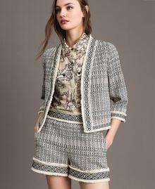 "Ethnic-motif jacquard jacket ""Marzipan"" Beige / Black Jacquard Woman 191TT2431-04"