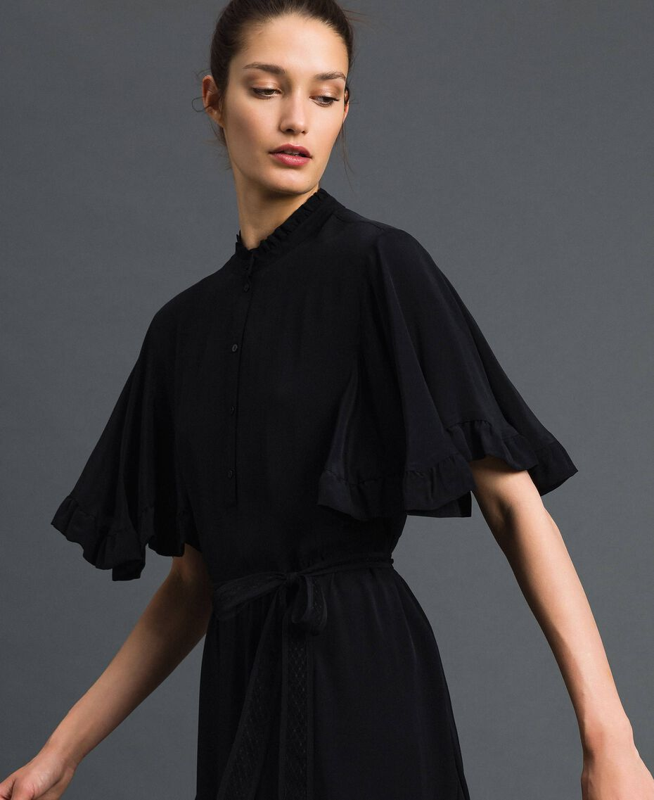 Robe en crêpe de Chine de soie mélangée Noir Femme 192TP2261-02