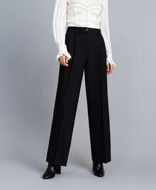 Pantalon palazzo en laine bi-stretch Noir Femme TA8272-02