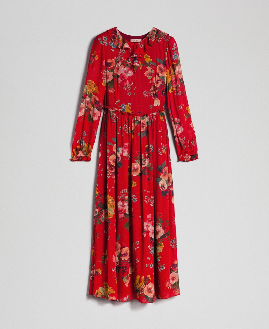 Georgette long dress with floral print Pomegranate Meadow Print Woman 192TP2753-0S